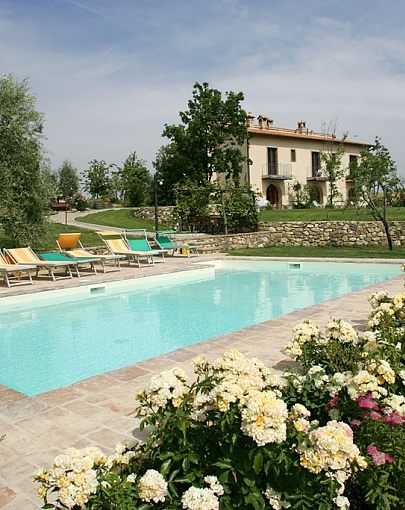 The house from the pool with flowers all around